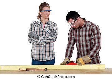 man, hout, vrouw, schaaf, gebruik