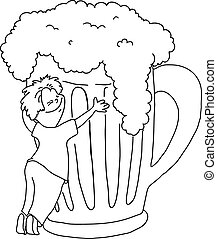 man hugging a mug of beer, cartoon vector