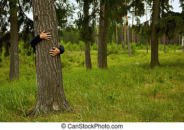 Man hugging big tree in forest
