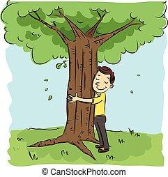 man hugging tree. - cartoon man hugging tree.