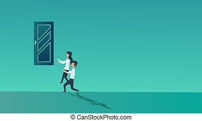 man, hulpbron, organisatie, klimmen, op, concept, samenwerking, carrière, spandoek, werken, persoon, samen., partner, strategie, mensen, woman., groep, team, zakenkantoor, vector, door., sociaal, vennootschap, job.