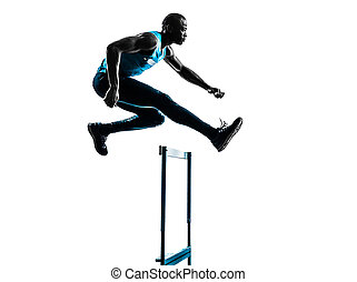 man hurdler runner  silhouette