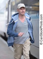 Man hurry to the train