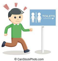 Man hurry toilet