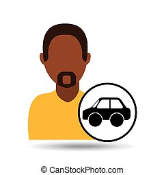 man icon car sedan design