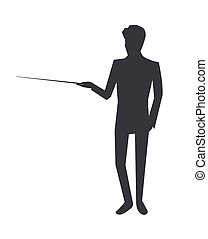 Man Icon Giving Information on Vector Illustration