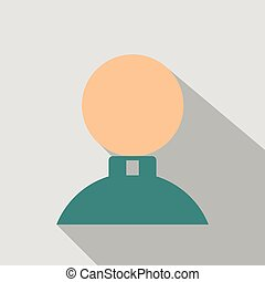 man icon in flat style with shadow