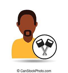 man icon keys car design