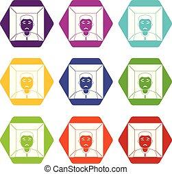 Man icon set color hexahedron