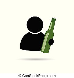 man icon with bottle in hand illustration