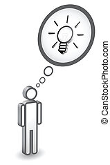 Man icon with idea concept, bulb as invention sign,