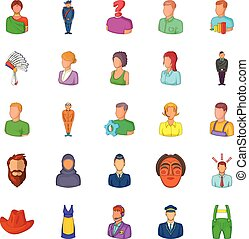 Man icons set, cartoon style
