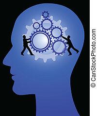 man idea - man with gear, team work idea symbol