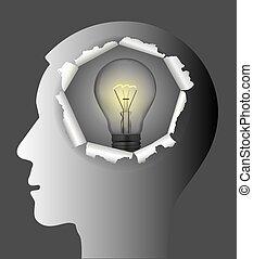 Man idea concept - The male paper silhouette of the head...