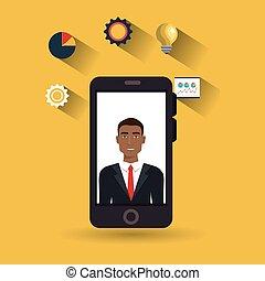 man idea gear symbol smartphone