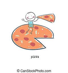 man, illustration., pizza., äta