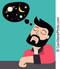 Man imagining the outer space vector illustration