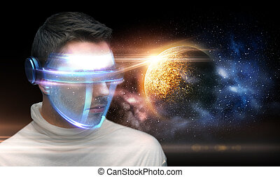 man in 3d glasses over planet and space - space, future...