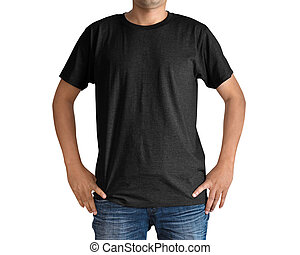 Man in a blue jeans and black T-shirt on white background