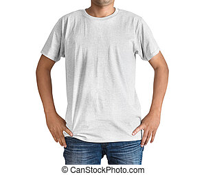 Man in a blue jeans and white T-shirt on white background