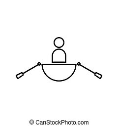 Man in a boat black color icon .
