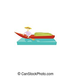 Man in a boat icon, cartoon style