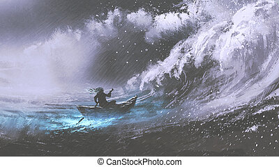 man in a boat in stormy sea - man rowing a magic boat in ...