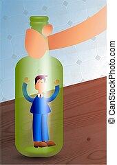 Man in a Bottle - business man trapped in a bottle