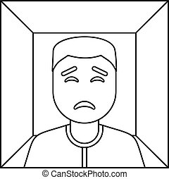 Man in a box icon, outline style