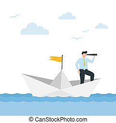 Man in a business suit with a telescope sails on a paper boat. Vector illustration.