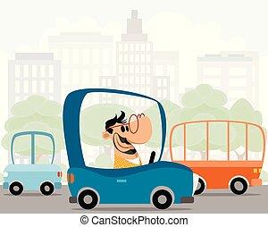 Man in a car
