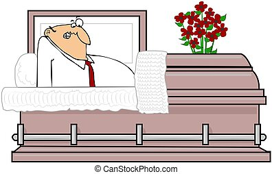 Man In A Casket - This illustration depicts a startled man...