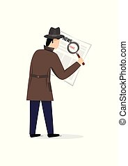 man in a coat and hat looking for fake news in a newspaper with a magnifier, isolated on a white background vertical vector illustration