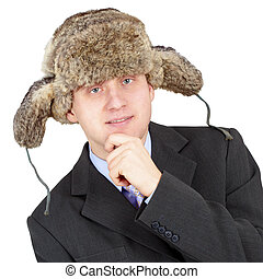 Man in a fur hat on white background