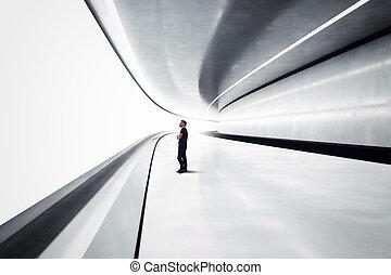 Man in a futuristic tunnel