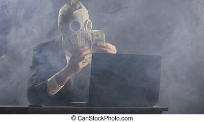 man in a gas mask in a smoke-filled office recounts the money