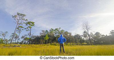 Man in a green field
