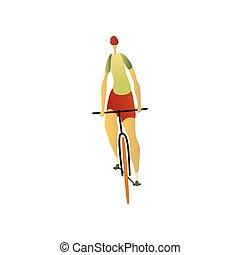 Man in a helmet riding a bike forward. Vector illustration.