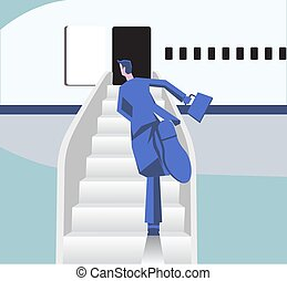 Man in a hurry runs to the plane in airport. Board on the airplane. Idea of air transportation. Flat vector illustration