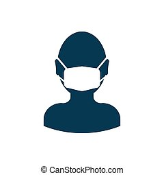 Man in a medical mask icon isolated on white background. Vector illustration