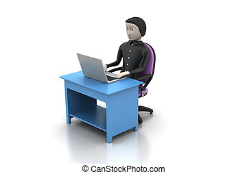 man in a modern desk with laptop
