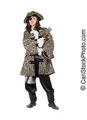 Man in a pirate costume with pistol