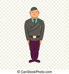 Man in a police uniform icon, cartoon style
