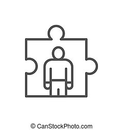 Man in a puzzle, human resource management, recruitment and hiring line icon.