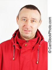 Man in a red jacket