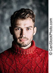 man in a red sweater