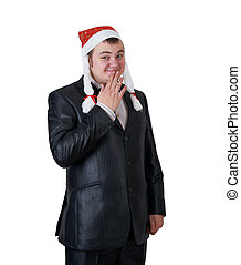 Man in a Santa Claus hat
