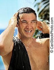 Man in a shower