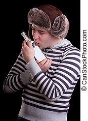 Man in a striped sweater