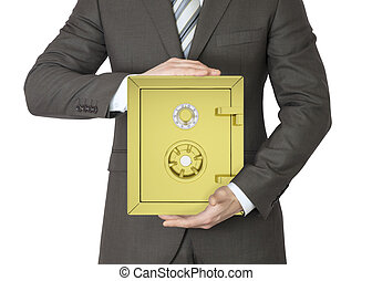Man in a suit holding gold safe. Isolated on white...